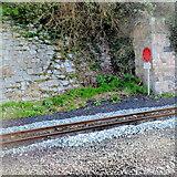 SH4862 : Token warning board at Caernarfon railway station by Jaggery