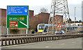 J3674 : Direction sign, Sydenham bypass, Belfast by Albert Bridge