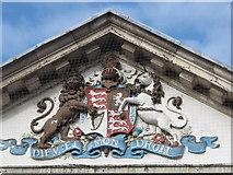 TQ3296 : Royal coat of arms, Enfield Post Office, Church Street, EN2 by Mike Quinn