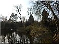 TM1645 : Pond with island in Christchurch Park by Hamish Griffin