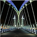 SJ8097 : Coloured Lighting on the Lowry Bridge by David Dixon