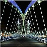 SJ8097 : Coloured Lighting on the Lowry Bridge by David Dixon