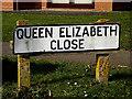 TM4461 : Queen Elizabeth Close sign by Geographer