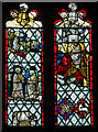TQ8218 : Medieval stained glass window, St George's church, Brede by Julian P Guffogg