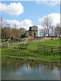 SK5073 : Across the village pond to St Peter's Church, Elmton by Neil Theasby
