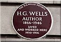 Photo of H. G. Wells brown plaque
