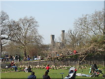 TQ3286 : View of the Castle Climbing Centre from the path by Clissold House by Robert Lamb