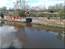 SJ8297 : Bridge over entrance to disused basin beside the River Irwell by David Martin