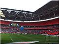 TQ1985 : The Posh at Wembley - Peterborough kick off by Richard Humphrey