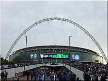 TQ1985 : The Posh at Wembley - Fans on Wembley Way by Richard Humphrey