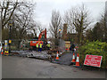 SP3165 : South Leamington sewer replacement works starting, York Promenade, Leamington by Robin Stott