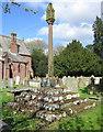 SJ4159 : Cross in the grounds of St John's Church, Aldford by Jeff Buck
