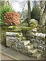 NY8777 : St. Giles Church, Birtley - stone steps into the churchyard by Mike Quinn
