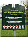 TQ0994 : King George V Playing Fields Playground sign by Geographer