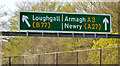 J0053 : Gantry sign, Northway, Portadown (April 2014) by Albert Bridge