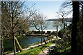SW7626 : Trebah Gardens Beach and lake with the Helford river beyond by Peter Skynner