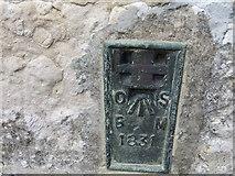 SY2591 : Ordnance Survey Flush Bracket 1831 by Peter Wood