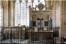 SP1729 : St James's church, Longborough: Knight effigy, and Leigh monument by Mike Searle