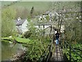 SK1573 : Footbridge to cottages near Litton Mill by Andrew Hill