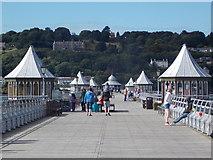 SH5873 : Bangor: seaward view along the pier by Chris Downer