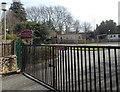 ST8449 : School gates, Dilton Marsh by Jaggery