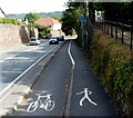 ST4769 : Footpath and cycle lane markers alongside Bucklands Batch, Nailsea by Jaggery