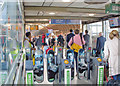 TQ2681 : Paddington Station: new barriers on footbridge by Ben Brooksbank