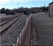 ST1167 : Two tracks into one west of  Waterfront platform, Barry by Jaggery