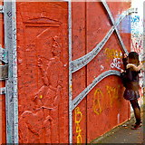"""J3274 : Belfast - """"Peace Line"""" Wall - Young Gal Adding a Message to Wall by Suzanne Mischyshyn"""