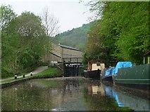 SD9926 : Moorings below Mayroyd Mill Lock [No 8], Rochdale Canal by Christine Johnstone