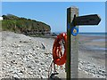 SN1707 : One end of the Pembrokeshire Coast Path National Trail, Amroth by Robin Drayton