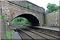 SD9904 : A670 Oldham Road bridge, Greenfield railway station by El Pollock