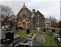 SN7305 : Fenced-off entrance to St Mary's Church, Ynysmeudwy by Jaggery