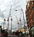 TQ2879 : Cranes at Victoria Street construction site by PAUL FARMER