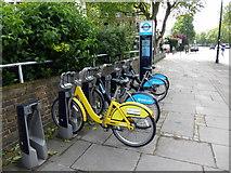 TQ2977 : Boris Bikes in Stand in Grosvenor Road, Pimlico by PAUL FARMER