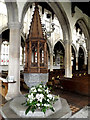 TL8646 : Font of Holy Trinity Church, Long Melford by Adrian Cable