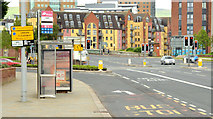 J3573 : Bus stop and bus lane, Albertbridge Road (EWAY), Belfast - June 2014(1) by Albert Bridge