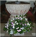 SP8205 : Great Kimble - St Nicholas - Norman font with flowers by Rob Farrow
