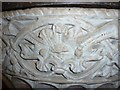 SP8205 : Great Kimble - St Nicholas - Font - rim carving detail by Rob Farrow