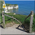 TA2570 : Steps down to the beach at Selwicks Bay by Pauline E