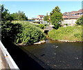 ST0380 : Stream and river confluence in Brynsadler by Jaggery