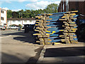 SP2965 : Barriers stacked and ready to go, Rich Close, 5 June by Robin Stott