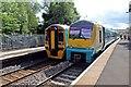 SJ3043 : Arriva Trains Wales DMUs, Ruabon railway station by El Pollock