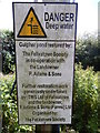 TM3036 : Danger deep water sign at Gulpher Pond by Hamish Griffin