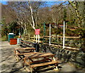 SH5761 : Picnic benches at Cei Llydan railway station by Jaggery