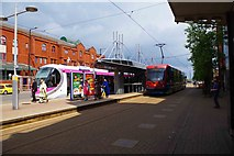 SO9198 : Midland Metro St. Georges tram stop with trams 16 & 20, Bilston Street, Wolverhampton by P L Chadwick