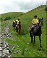 SN8552 : Riders on the bridleway near Abergwesyn, Powys by Roger  Kidd