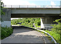 SK2503 : M42 bridge over the Coventry Canal by Alan Murray-Rust