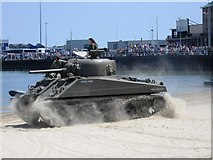 SY6879 : Sherman Tank, Weymouth Beach by Alex McGregor