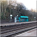 ST1477 : Ticket machine and passenger shelter at Fairwater railway station, Cardiff by Jaggery